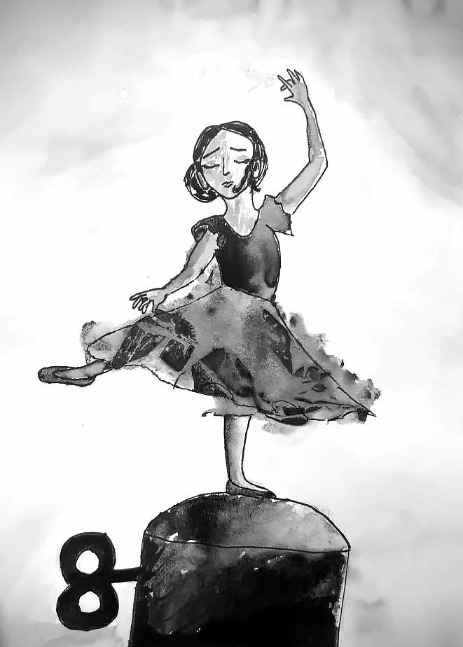 Ballerina dancing on a music box pedestal with a turning key.